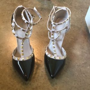 Gold studded straps black heels